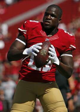 San Francisco 49ers'  Frank Gore before playing Kansas City Chiefs during NFL game at Levi's Stadium in Santa Clara, Calif. on Sunday, October 5, 2014.