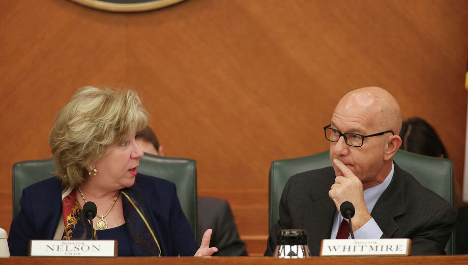 Chairman Sen. Jane Nelson, R-Flower Mound, left, responds to points raised by Sen. John Whitmire, D-Houston during a State of Texas Senate Finance Committee meeting at the State Capitol, Monday, March 2, 2015. The meeting was held to discuss proposed senate bills aimed at reducing the tax burden on property owner. Photo: JERRY LARA, Staff / San Antonio Express-News / © 2015 San Antonio Express-News