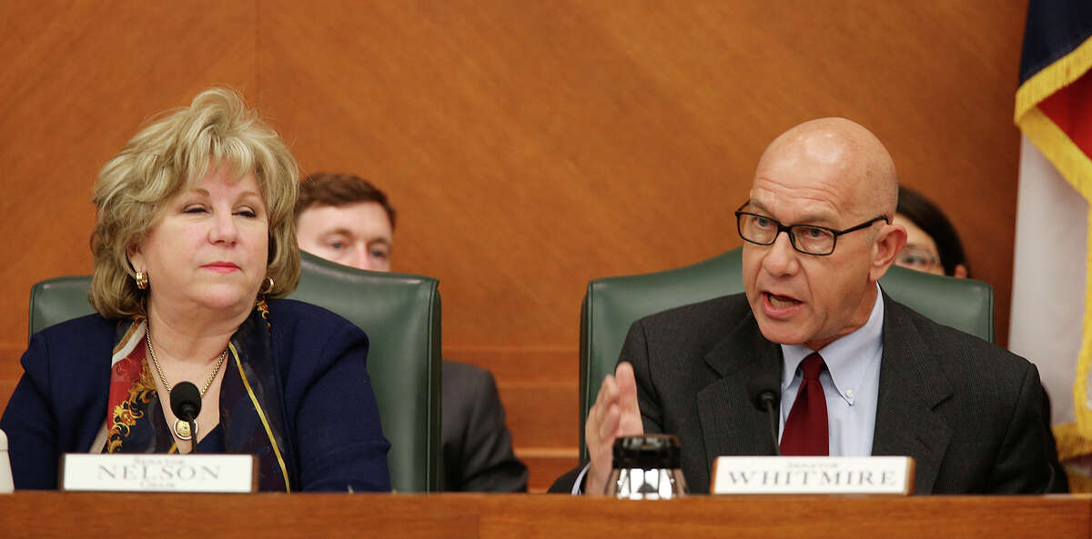 Chairman Sen. Jane Nelson, R-Flower Mound, left, listens to points raised by Sen. John Whitmire, D-Houston during a State of Texas Senate Finance Committee meeting at the State Capitol, Monday, March 2, 2015. The meeting was held to discuss proposed senate bills aimed at reducing the tax burden on property owner.