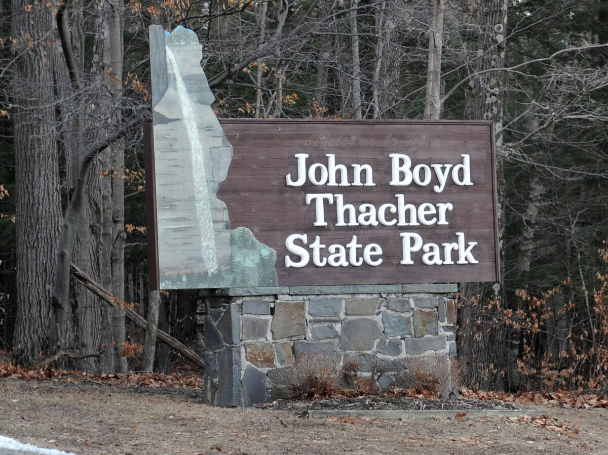 Sign at the east entrance to John Boyd Thacher State Park on Tuesday, Dec. 30, 2014 in New Scotland, N.Y. There are proposed plans of development at Thacher Park including ropes course, mountain biking trail, and, eventually, rock climbing. (Lori Van Buren / Times Union archive)