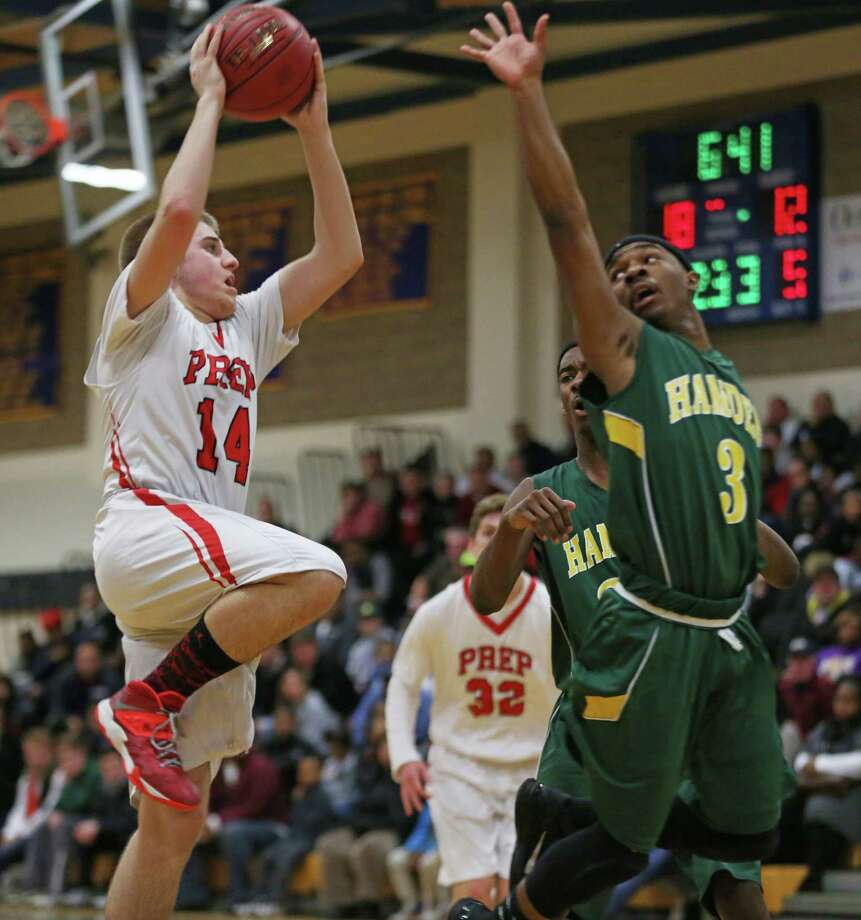 Fairfield Prep's #14 Richard Kelly  shoots to the basket during Monday evening SCC semifinals against Hamden High School. Fairfield Prep would win 68-51. Photo: Mike Ross / Mike Ross Connecticut Post freelance -www.mikerossphoto.com