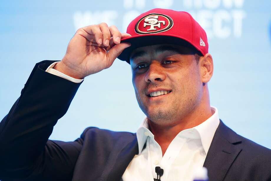 SYDNEY, AUSTRALIA - MARCH 03:  Jarryd Hayne speaks to the media during a press conference at the Telstra Amphitheatre on March 3, 2015 in Sydney, Australia. Hayne has signed a NFL futures contract with the San Francisco 49ers.  (Photo by Matt King/Getty Images) Photo: Matt King, Getty Images