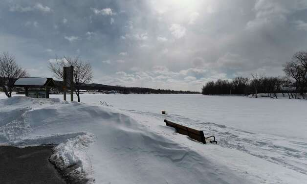 The Mohawk River looking west from the waterfront Monday afternoon, Feb. 23, 2015, in Waterford, N.Y.  (Skip Dickstein/Times Union) Photo: SKIP DICKSTEIN / 00030722A