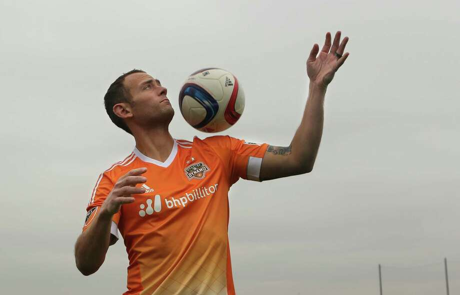 The Houston Dynamo reveal their new jerseys with captain Brad Davis at Houston Sports Park on Monday, March 2, 2015, in Houston. Photo: Mayra Beltran, Houston Chronicle / © 2015 Houston Chronicle