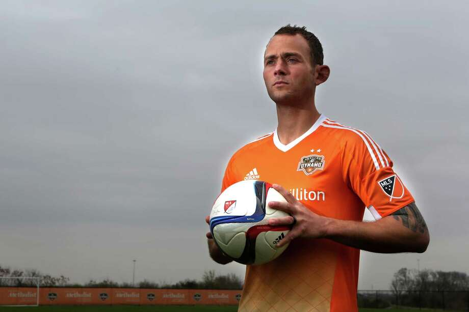 The Houston Dynamo reveal their new Jersey's with Captain Brad Davis at Houston Sports Park on Monday, March 2, 2015, in Houston. Photo: Mayra Beltran, Houston Chronicle / © 2015 Houston Chronicle