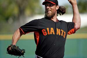 San Francisco Giants' Madison Bumgarner during Spring Training at Scottsdale Stadium in Scottsdale, Arizona, on Wednesday, February 26, 2015.