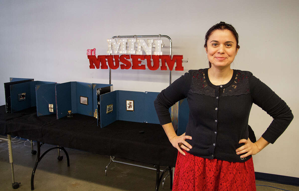 Mary Elizabeth Cantú stands in front of the Mini Art Museum in her classroom at the Henry Ford Academy.
