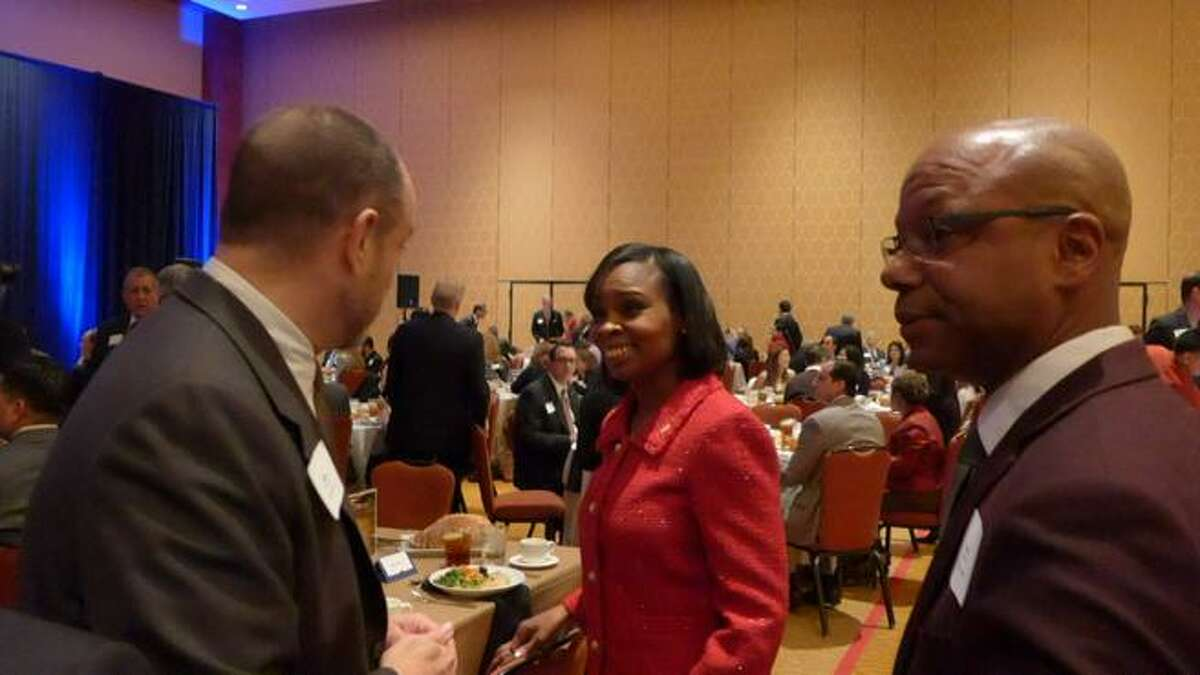 San Antonio Mayor Ivy Taylor arrives before her State of the City address at the Grand Hyatt on Tuesday, March 3, 2015.