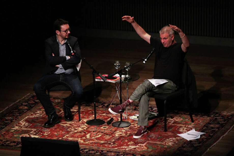 New York Times culture reporter Randy Kennedy (left) moderates a conversation with photographer Jim Goldberg at the SFJAZZ Center, Wednesday, Feb. 25, 2015, in San Francisco, Calif. Photo: Santiago Mejia / The Chronicle / ONLINE_YES