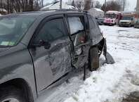 A chief deputy with the Albany County sheriff's department crashed his unmarked Toyota SUV on a rural road in Bethlehem Monday night. (Brendan J. Lyons / Times Union)
