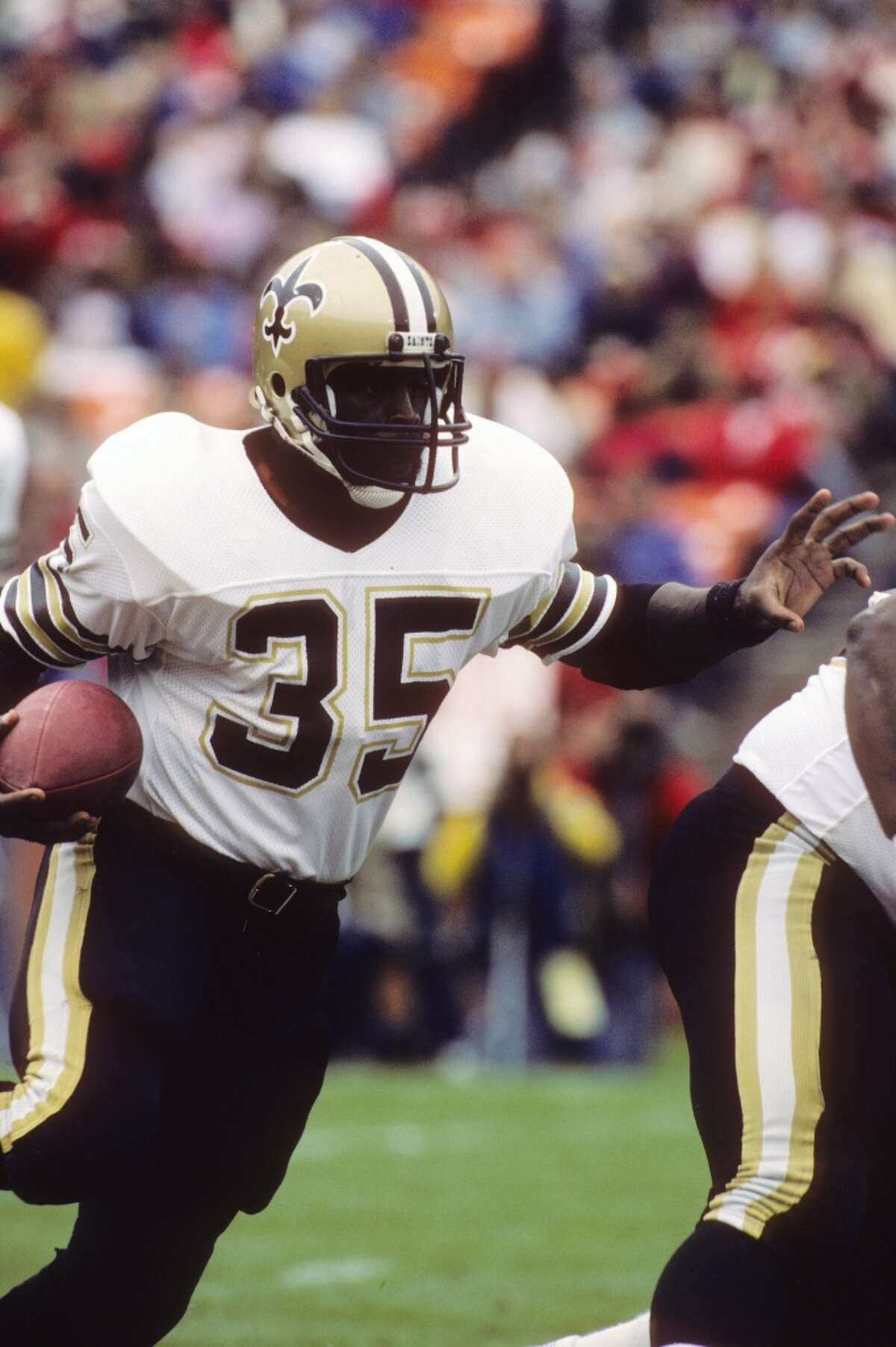 """Earl Campbell, Saints The heart and soul of the """"Luv Ya Blue"""" Oilers of the late 1970s and early 1980s was traded to New Orleans during the 1984 season and played just 24 games with the Saints before retiring."""