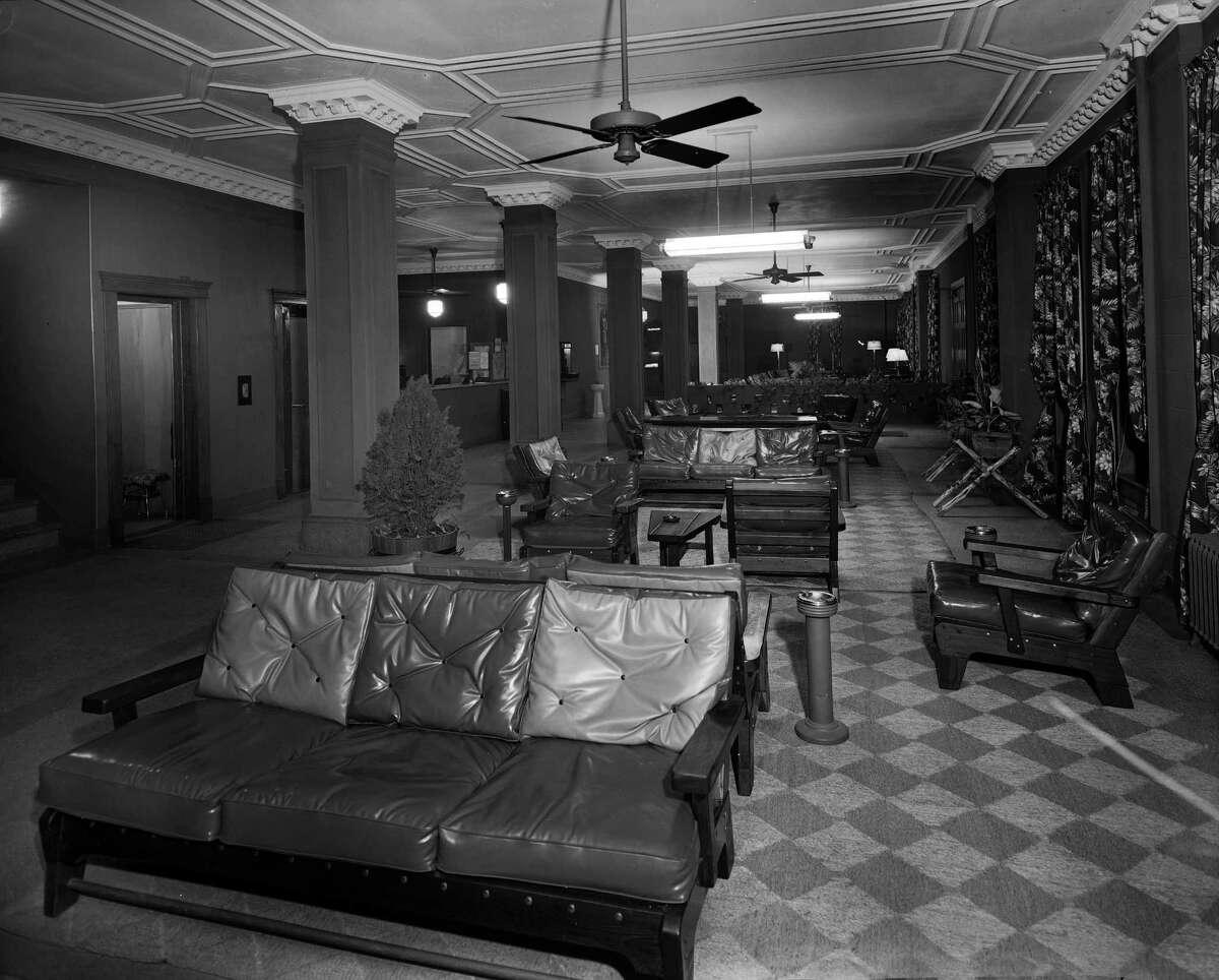 The interior of the Crockett Hotel, circa 1950.