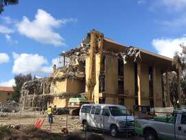 "The demolition of ""UGLI"" at Stanford University.  The Chronicle/Sam Whiting"