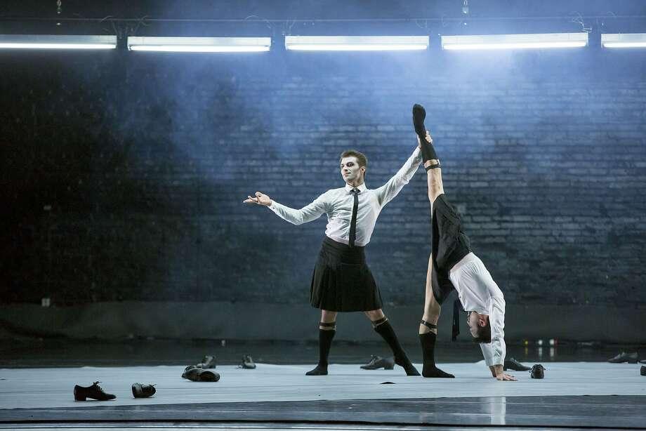 "The Joffrey's Derrick Agnoletti and Aaron Rogers dance the West Coast premiere of Alexander Ekman's ""Episode 31."" Photo: Cheryl Mann"