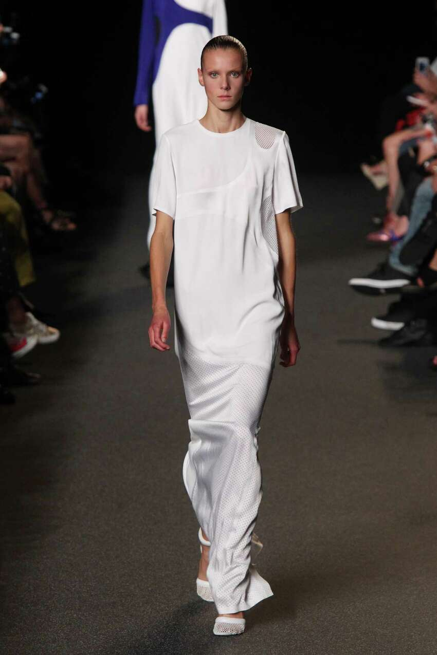Longer silhouettes in dresses and skirts will be trending for spring 2015 trend as seen in this look from Alexander Wang.