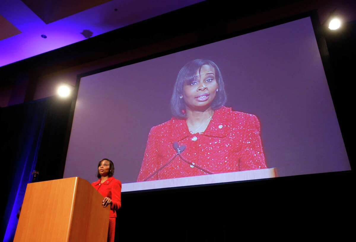 Mayor Ivy Taylor presents her first State of the City address Tuesday, March 3, 2015 to the business community during a luncheon at the Grand Hyatt Hotel downtown.