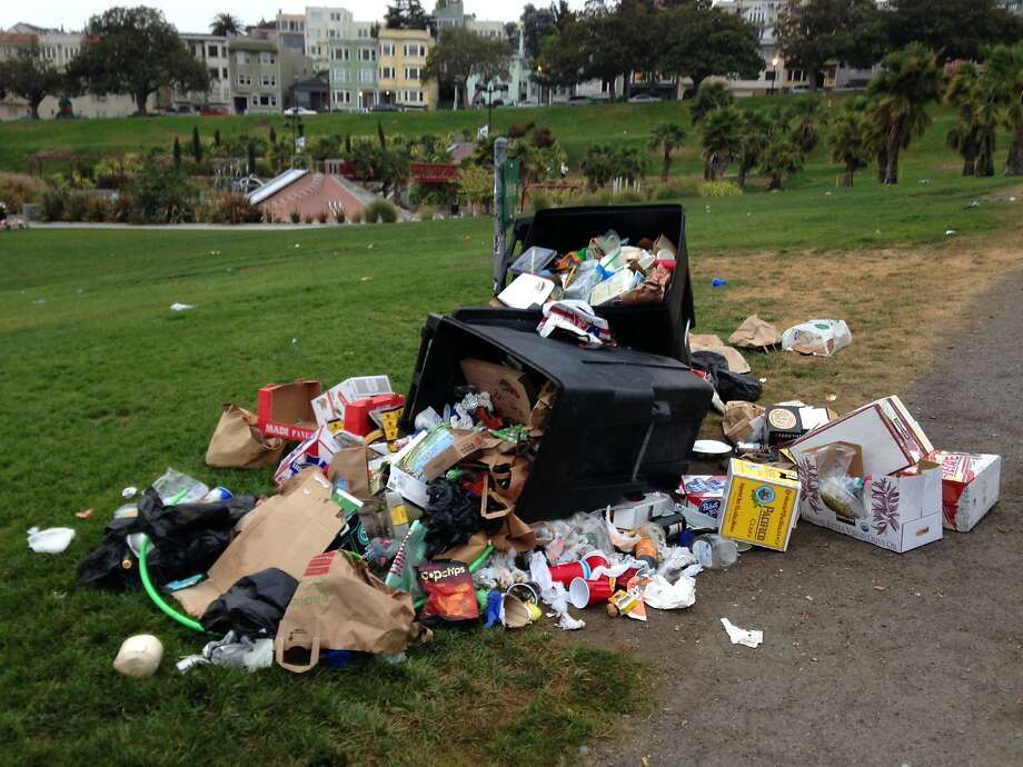 Garbage is a big problem at San Francisco's Dolores Park,  costing the Recreation and Parks Department $400,000 a year in clean up costs. Photo: Courtesy SF Rec And Parks Dept.