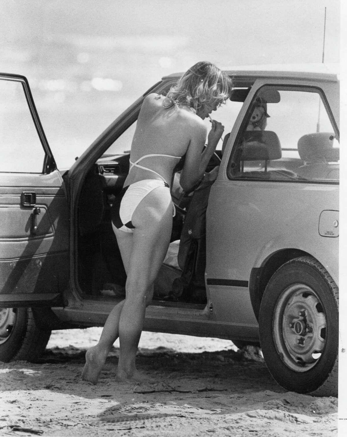 A lone spring breaker at Port Aransas, 1985
