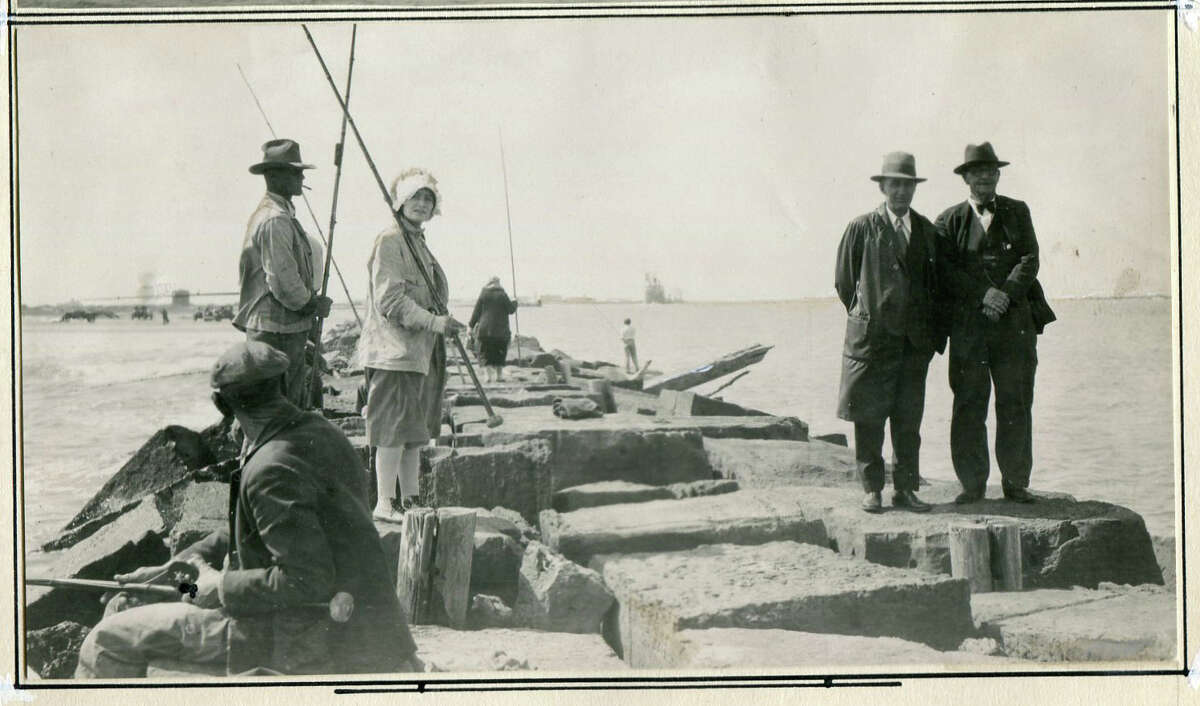 Fishing off a jetty was a popular in 1930 as it is today.