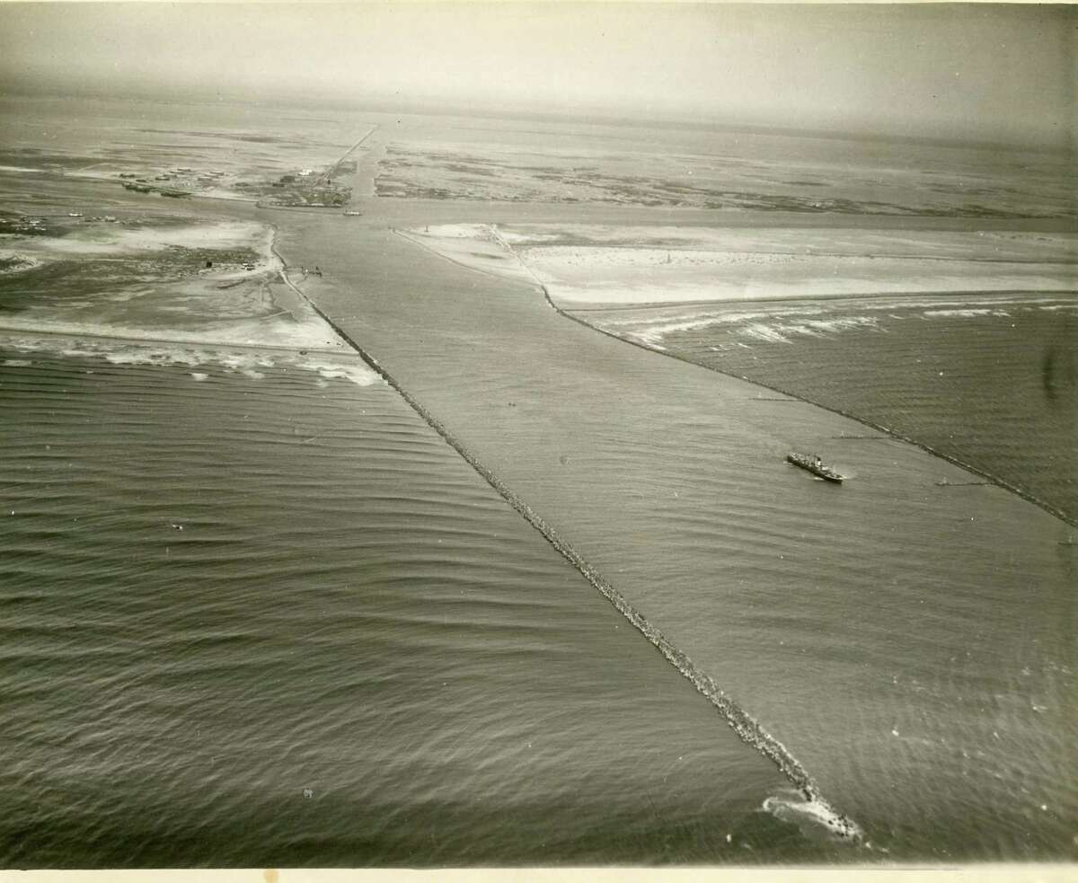 This was the view looking in from a channel at Port Aransas long before spring break existed (March, 1930).