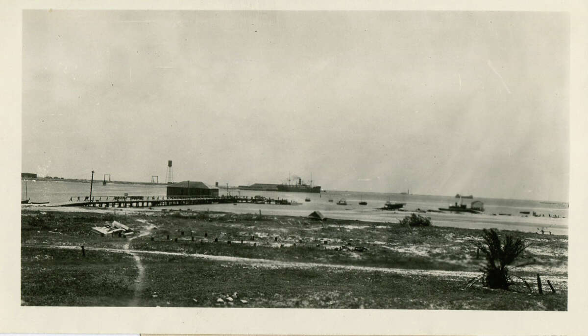 From a hotel on Mustang Island, this was a view of the S.S. Florence Luckenbach at the docks of Port Aransas, 1923.