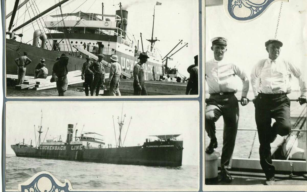 This photo montage of the Luckenbach Line was assembled in 1923. The ship was torpedoed and sunk by a Japanese submarine while en route from Madras to New York in 1942.