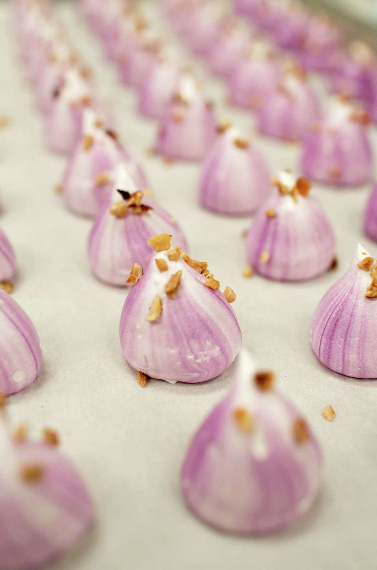 Monterey Meringues fresh out of the oven in Watsonville. Owners Domenick Allen and wife Leigh Zimmerman, both former performers, infused the classic treats with a classic-rock sensibility.