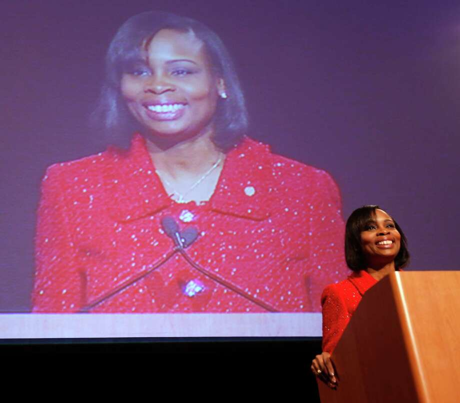 Mayor Ivy Taylor presents her first State of the City address Tuesday, March 3, 2015 to the business community during a luncheon at the Grand Hyatt Hotel downtown. Photo: William Luther, Staff / San Antonio Express-News / © 2015 San Antonio Express-News