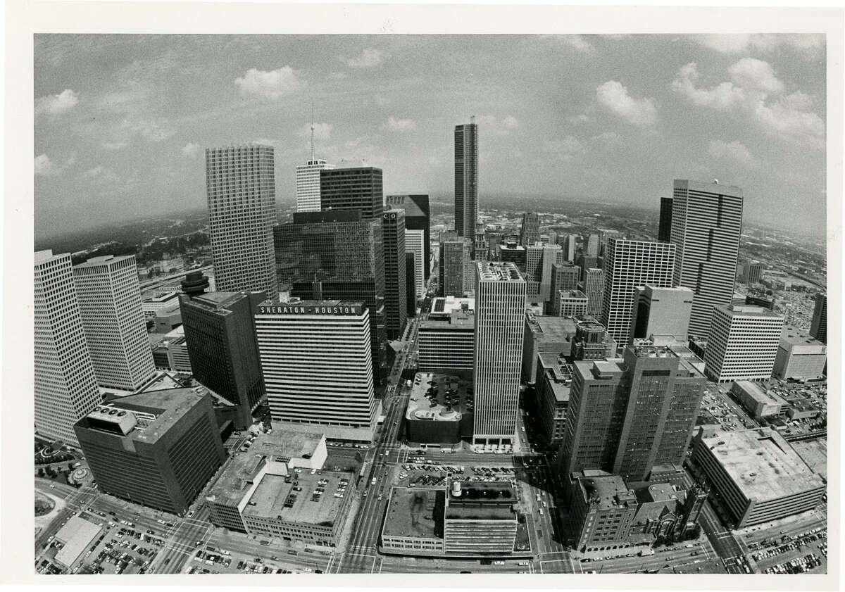 View of the Houston skyline from Exxon building looking east.