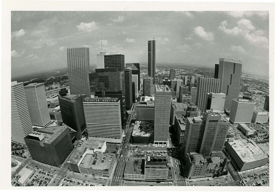 View of the Houston skyline from Exxon building looking east. Photo: Fred Bunch, © Houston Chronicle / Houston Post files