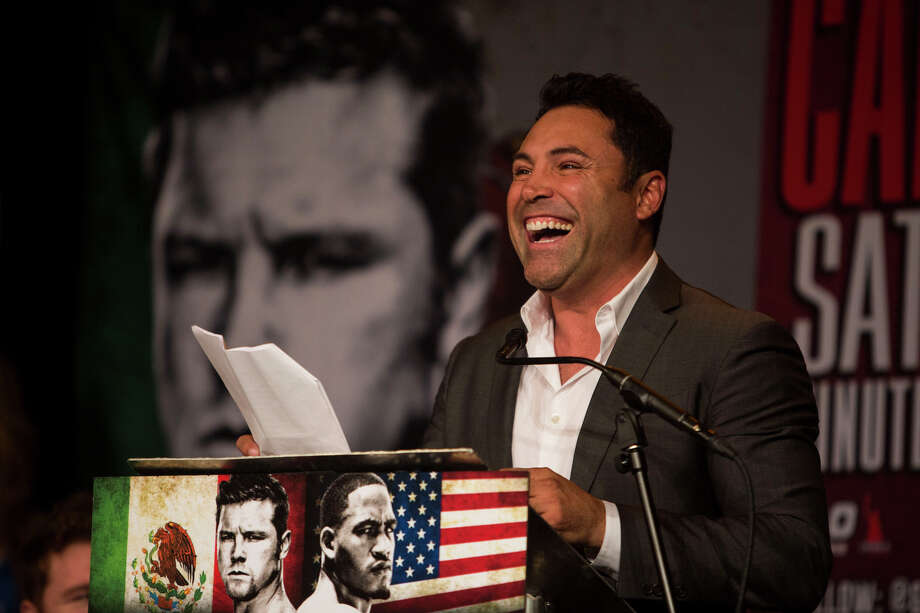 "Oscar De La Hoya speaks during a media event promoting the May 9th Saul ""Canelo"" Alvarez vs. James Kirkland boxing match at Aztec Theater in San Antonio on Tuesday, March 3, 2015. Photo: Carolyn Van Houten /San Antonio Express-News / 2015 San Antonio Express-News"
