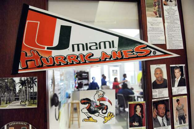 A University of Miami banner adorns a fifth-grade English Language Arts class on Tuesday, March 3, 2015, at Brighter Choice Middle School for Boys in Albany, N.Y. (Cindy Schultz / Times Union) Photo: Cindy Schultz / 00030801A