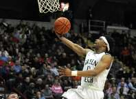 Green Tech's Israel Griffin goes to the basket during their Class AA Boys' Basketball Semifinals against Guilderland at the Times Union Center on Tuesday March 3, 2015 in Albany, N.Y. (Michael P. Farrell/Times Union)