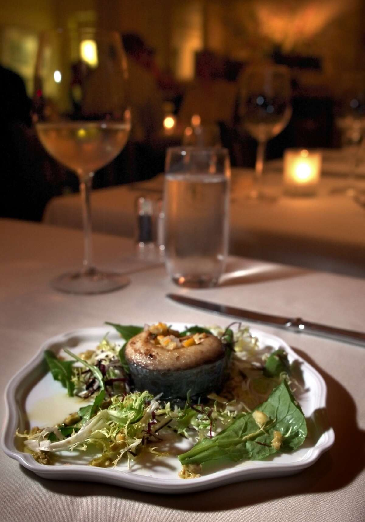 2004: Rotolo sierra mackerel with picholine olives and meyer lemons served at Quince in San Francisco,.