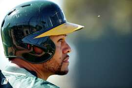 Oakland Athletics' Coco Crisp during Spring Training in Mesa, Arizona, on Wednesday, February 25, 2015.