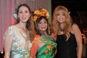 Laura Ackley, Donna Huggins and Tsarra Benitez at the 1915 Panama Pacific International Exposition Centennial Celebration Opening Party on February 20, 2015.