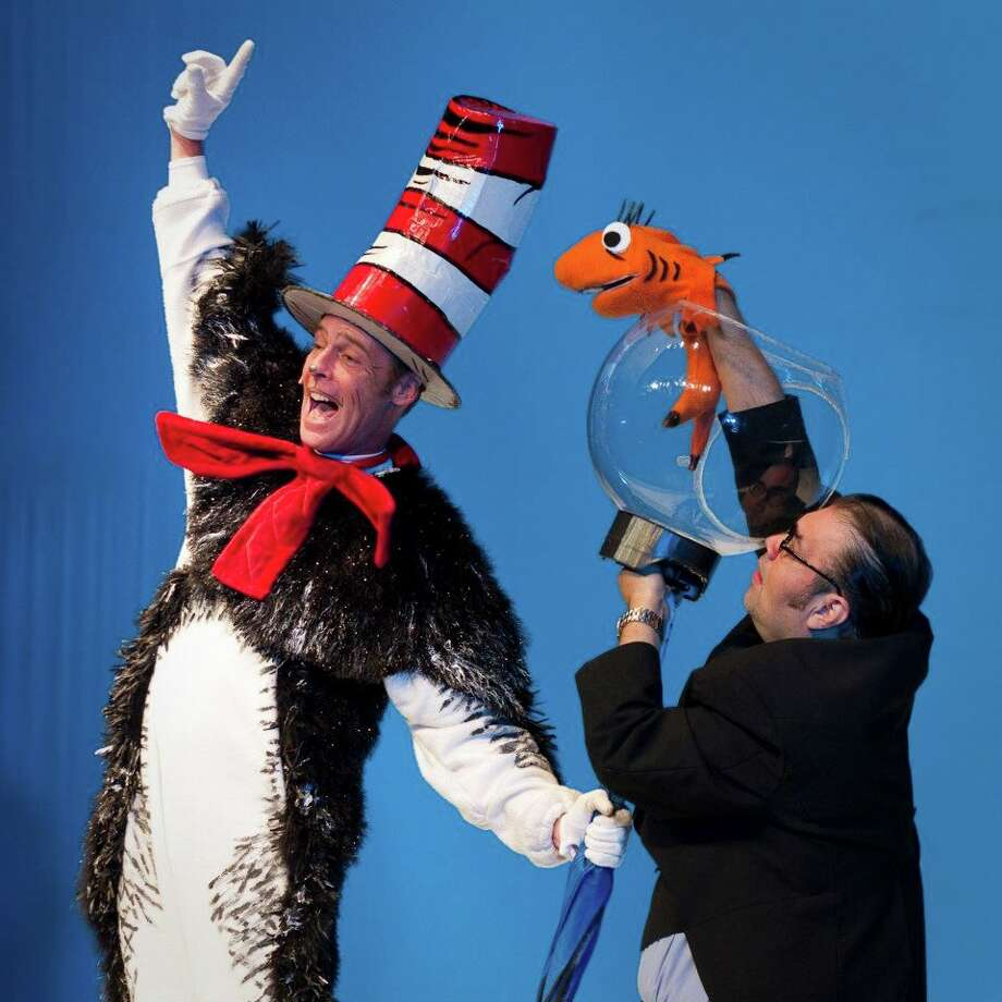 "Dylan Collins (left) and Richard Solis co-star in Magik Theatre's staging of ""The Cat in the Hat."" Photo: Courtesy Photo"