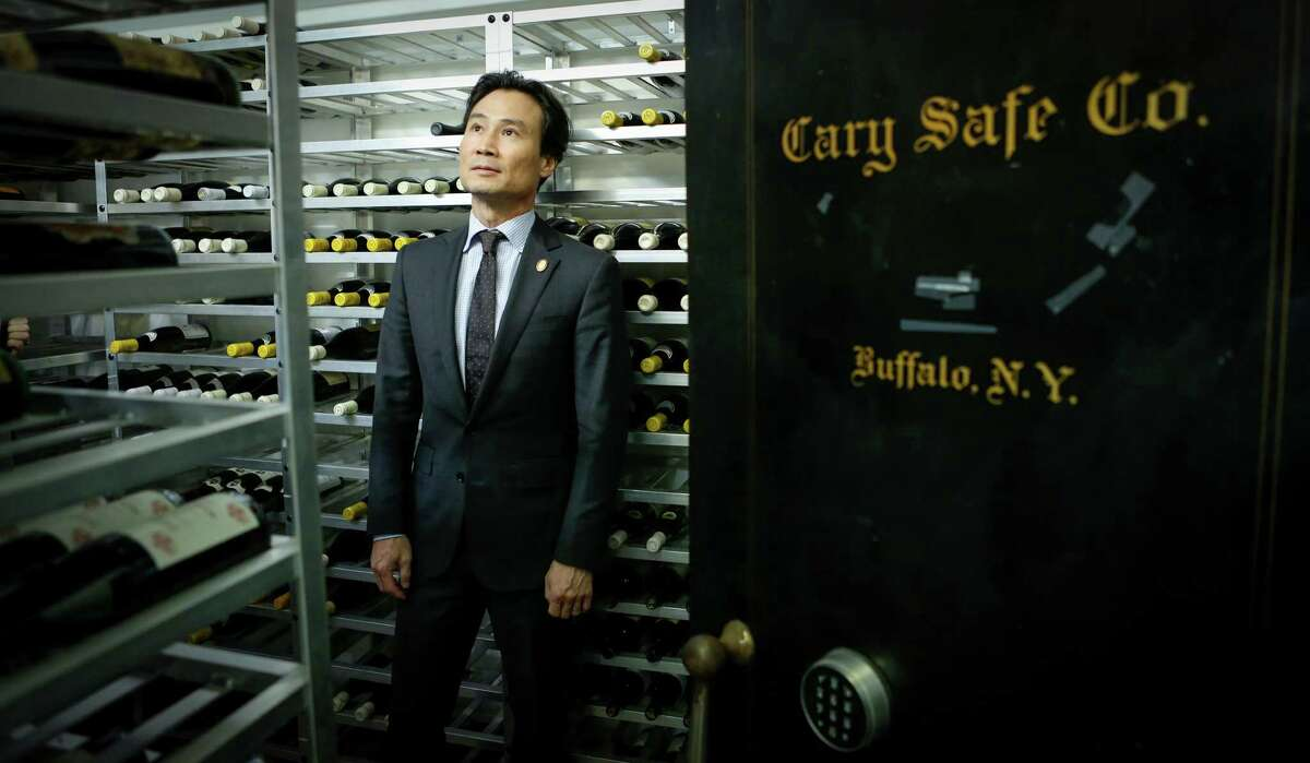 """Yoon Ha, master sommelier and wine director at Benu in S.F., in the restaurant's wine room: """"I think there is a shortage of mentors"""" for new sommeliers, he says."""