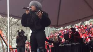 Ashanti performs at a pro-charter school rally in Albany on Wednesday. (John Carl D'Annibale / Times Union)