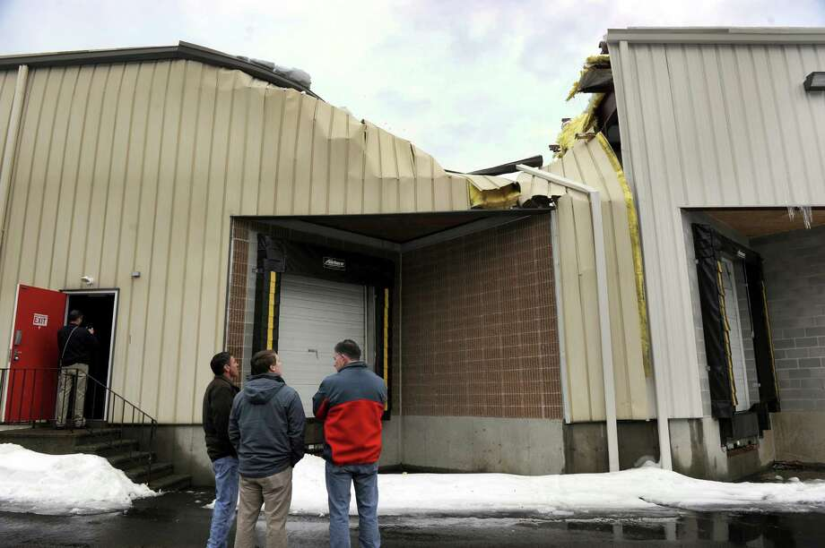 There was a partial roof collapse Wednesday at 13 Clarke Industrial Park in Bethel. The collapse occurred in the north end of a 95,000-square-foot building that also houses Sky Zone trampoline center. Sky Zone was not open when the collapse occurred and only suffered minor water damage from the incident. Photo: Carol Kaliff / The News-Times
