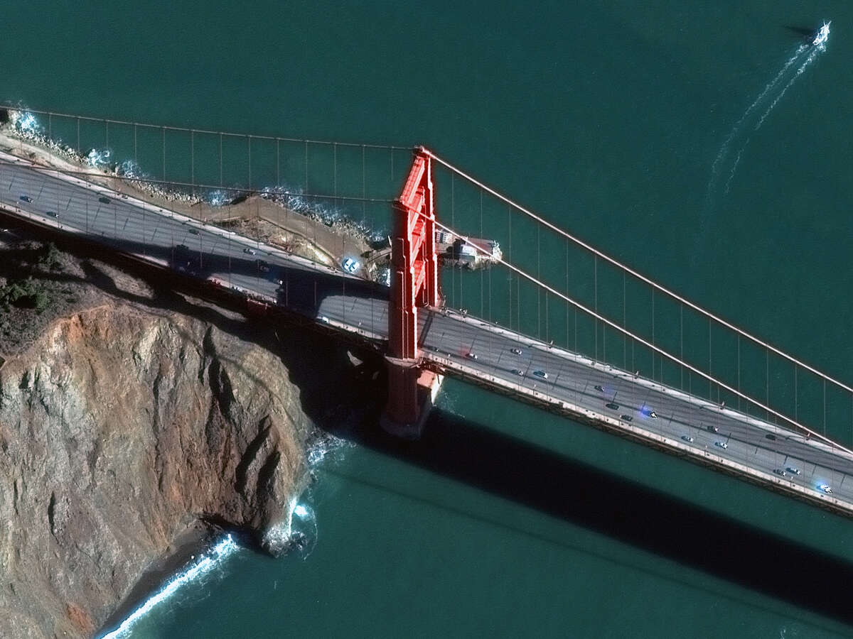 The Golden Gate Bridge was taken by DigitalGlobe's WorldView-3 satellite.