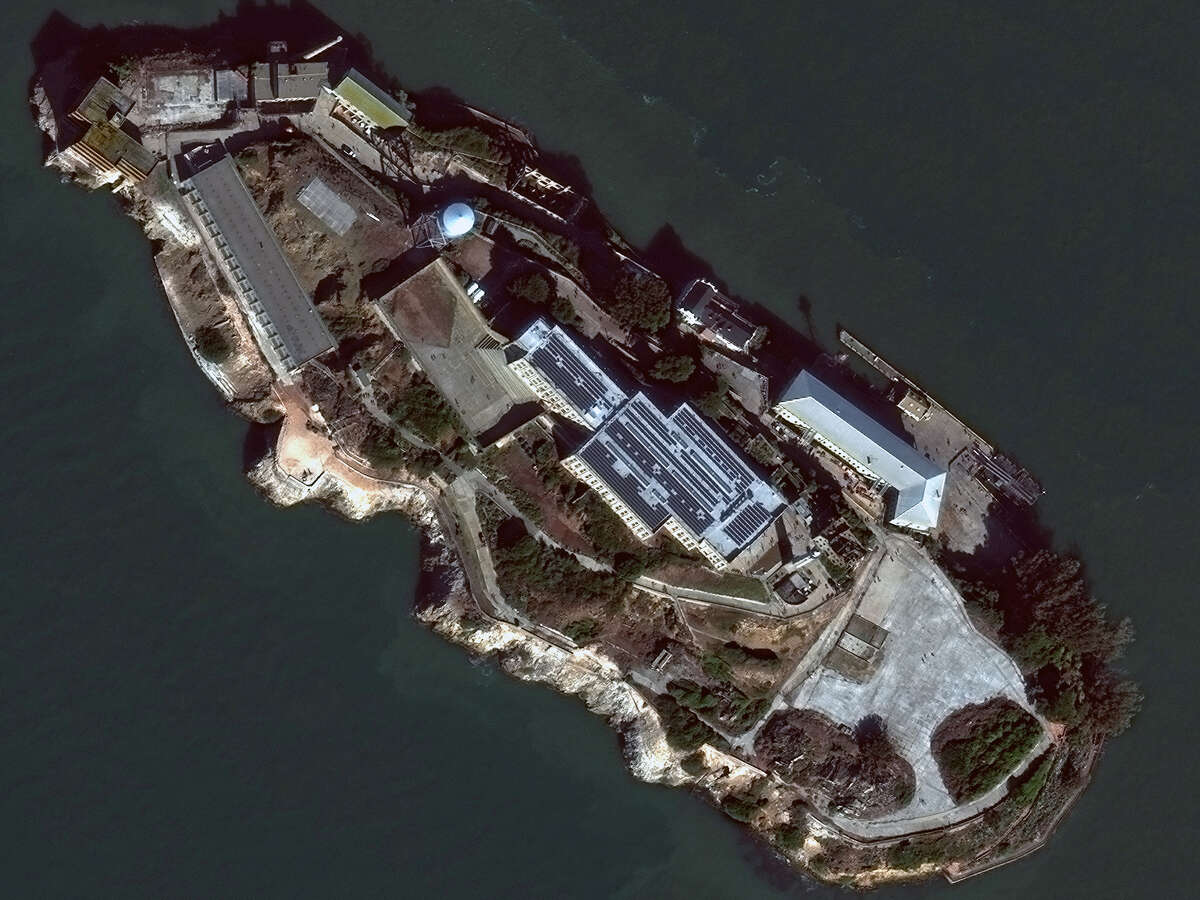 The island of Alcatraz as seen by DigitalGlobe's WorldView-3 satellite.