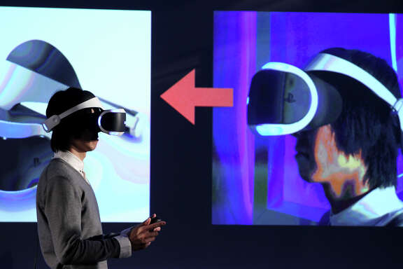 Sony shows off an updated prototype of its Project Morpheus virtual reality device at the W San Francisco hotel.
