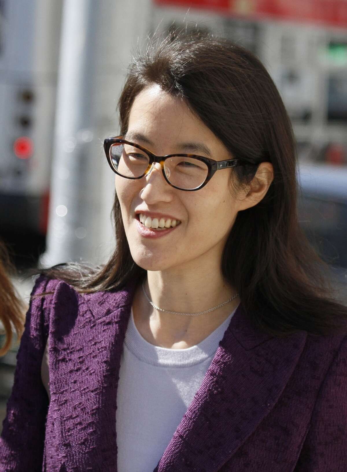 Ellen Pao leaves the Civic Center Courthouse during a lunch break in her trial Tuesday, Feb. 24, 2015, in San Francisco. A jury heard opening arguments Tuesday in a multi-million dollar sexual harassment lawsuit filed by the current interim chief of the news and social media site Reddit against a prominent Silicon Valley venture capital firm. Pau is seeking $16 milion in her suit against Kleiner Perkins Caulfield and Byers, alleging she was sexually harassed by male officials. (AP Photo/Eric Risberg)