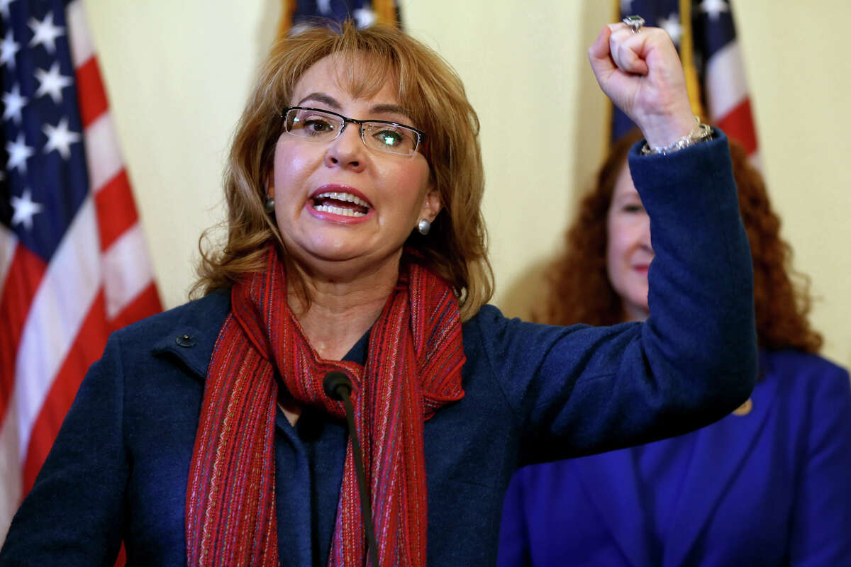 Former Arizona Rep. Gabrielle Giffords speaks during a press conference to announce a bipartisan bill to expand the gun purchasing background check system, Wednesday, March 4, 2015, in Washington, D.C.