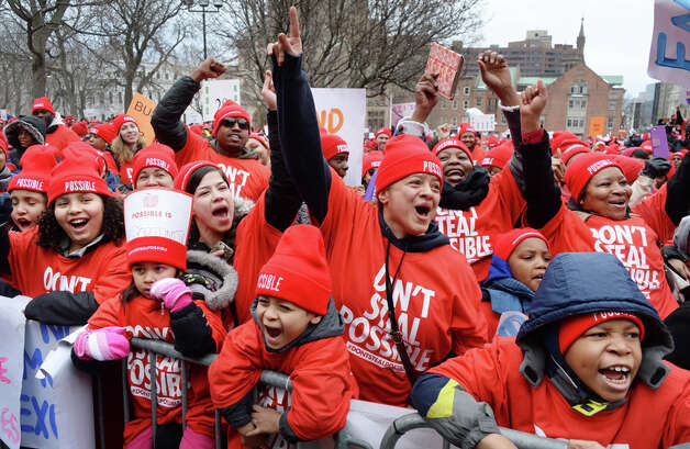 Participants cheer during a pro charter rally at the Capitol Wednesday March 4, 2015 in Albany, NY.  (John Carl D'Annibale / Times Union) Photo: John Carl D'Annibale, Albany Times Union / 00030815A