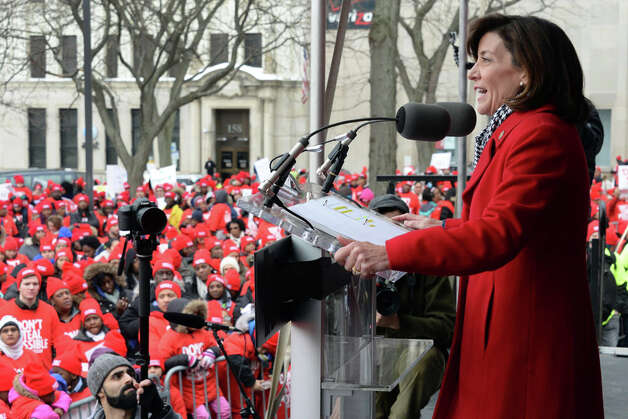 Lt. Gov. Kathy Hochul speaks at a pro charter rally at the Capitol Wednesday March 4, 2015 in Albany, NY.  (John Carl D'Annibale / Times Union) Photo: John Carl D'Annibale, Albany Times Union / 00030815A