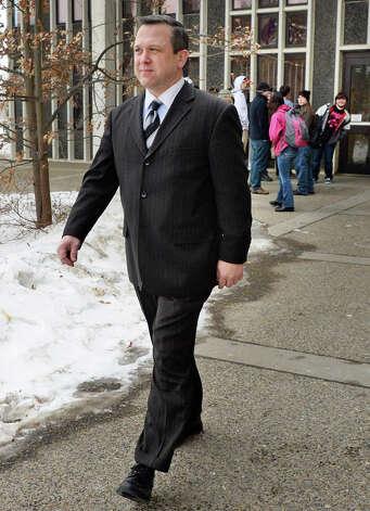 Deputy Chief Aran Mull walks through the UAlbany campus Tuesday March 3, 2015 in Albany, NY.  (John Carl D'Annibale / Times Union) Photo: John Carl D'Annibale, Albany Times Union / 10030849A