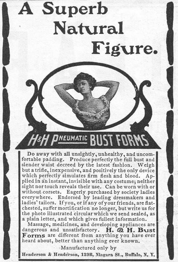 1902Advertisement for H & H Pneumatic Bust Forms bra by Henderson & Henderson in Buffalo, New York Photo: Jay Paull, Getty Images / Archive Photos