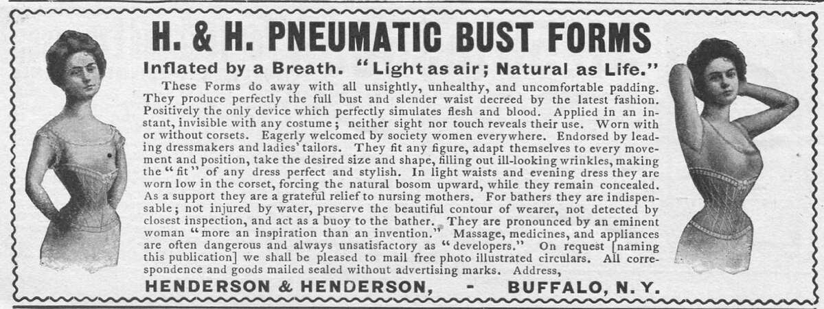 1902 Advertisement for H & H Pneumatic Bust Forms bra by Henderson & Henderson in Buffalo, New York